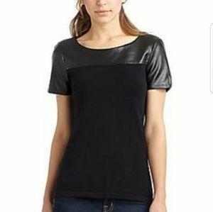 Saks Fifth Avenue Leather Shirt Black Label